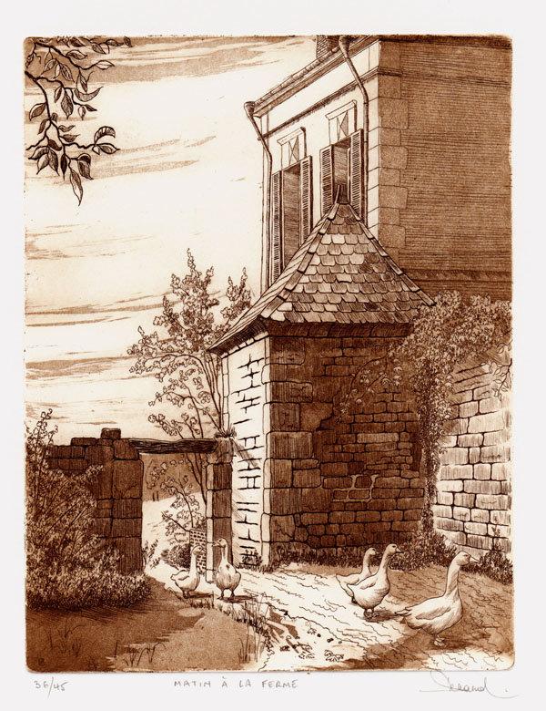 19 Matin à la Ferme, Eau-forte et aquatinte, 28,5x38 cm