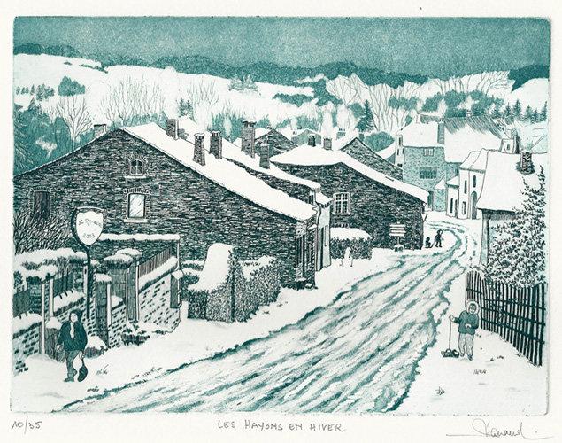 223 Les Hayons en hiver, Eau-forte et aquatinte, 28,5x34,5 cm