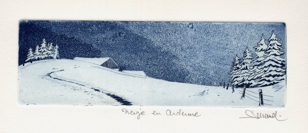 24 bis Neige en Ardenne, Eau-forte et aquatinte, 17x28 cm
