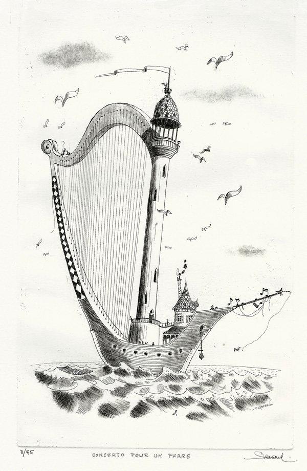 260 Concerto pour un phare, Eau-forte, 31x43 cm