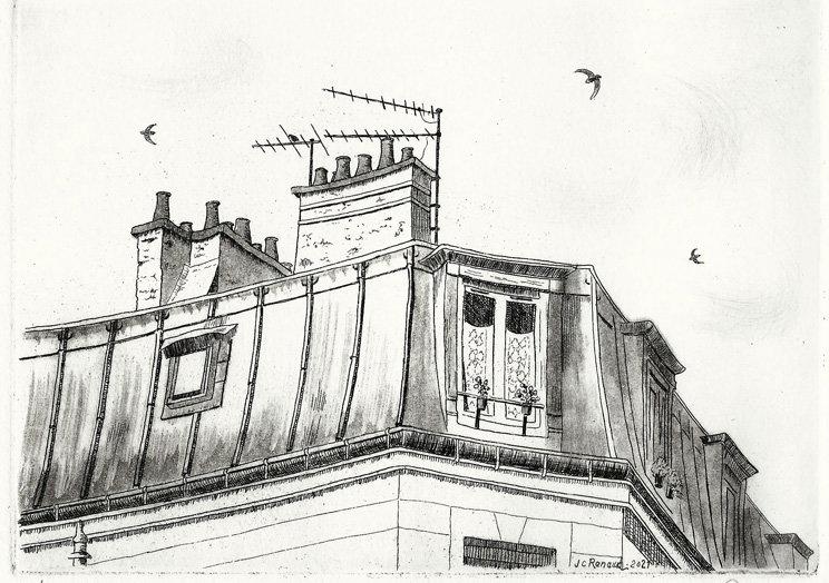 269 Sous les toits, Eau-forte, aquatinte, pointe-sèche, 24 x 28,5 cm