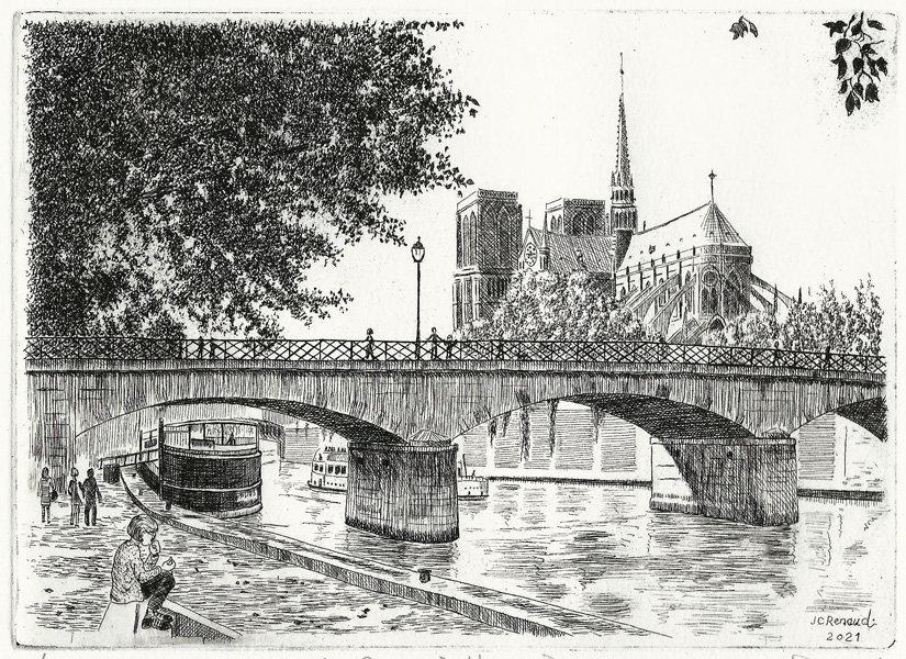 270 La Seine à Notre Dame, Eau-forte, 24 x 28,5 cm