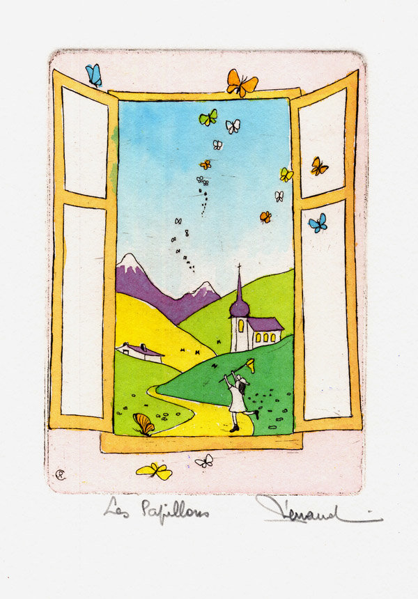 27 Bis Les Papillons, Eau-forte aquarellée, 18x24 cm