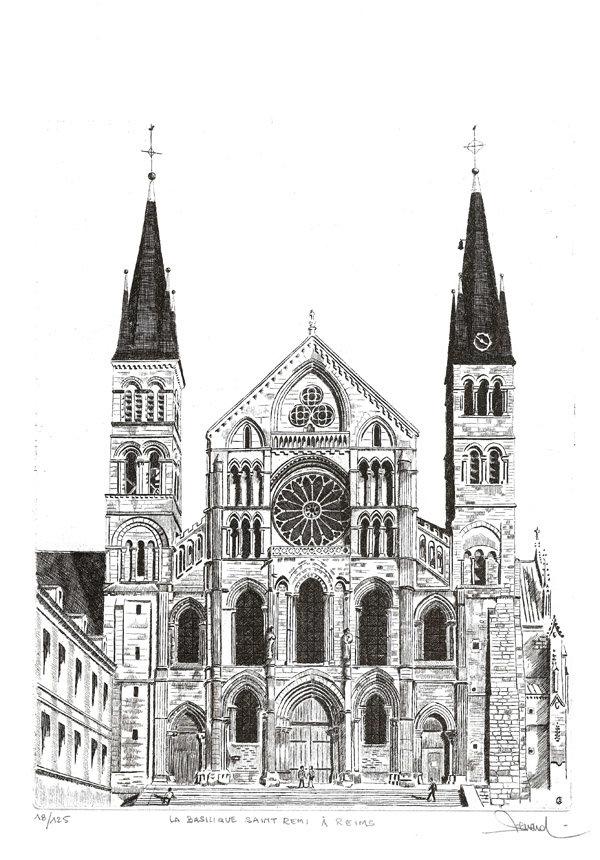 67 Reims - La basilique Saint Remi, Eau-forte, 40x50 cm