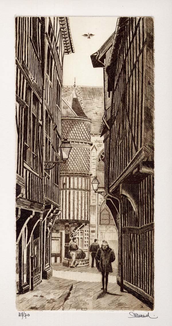 78 Troyes - Le Passage du Saint Esprit, Eau-forte, 28x46 cm