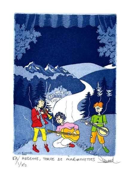 180 Ardennes, Terre De Marionnettes, Eau-forte et aquatinte, 20x27 cm