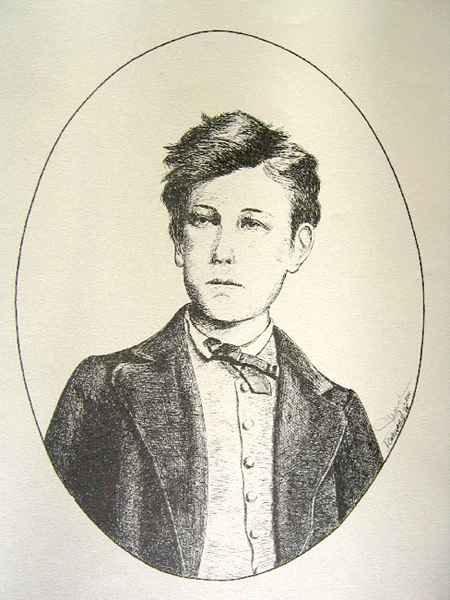 Arthur Rimbaud - Dessin à La Plume Reproduit En Offset Sur Papier Chiffon - 50x65