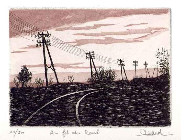 73 Au Fil Du Rail, Eau-forte et aquatinte, 18x24 cm