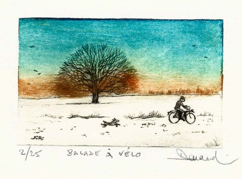249 Balade à Vélo, Pointe-sèche, 18x24 cm