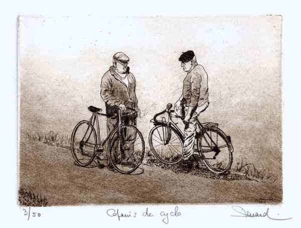 178 Copains De Cyclo,Eau-forte, pointe-sèche et roulette, 24x28 cm