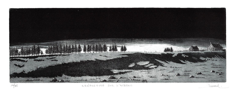 158 Crépuscule Sur L'Aubrac, Eau-forte et aquatinte, 30x57 cm