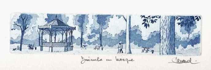 58 Dimanche Au Kiosque, Eau-forte et aquatinte, 19x34 cm