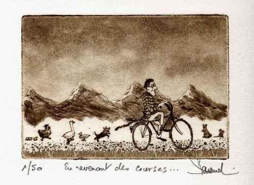 156 En Revenant Des Courses, Eau-forte, aquatinte, vernis mou, sucre et roulette,18x24 cm