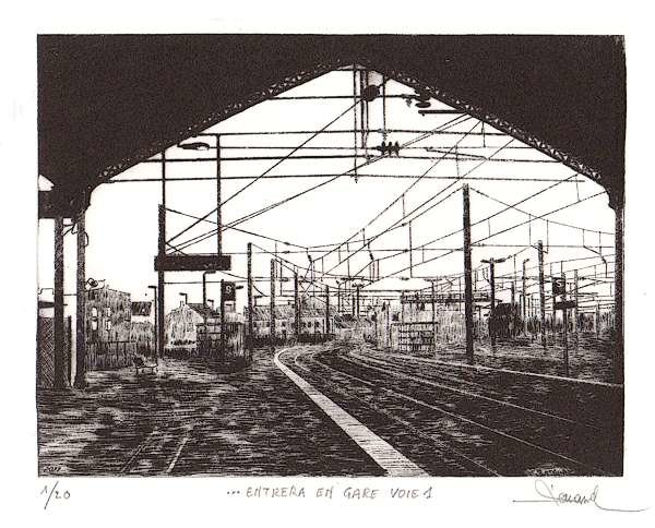 211 Entrera En Gare Voie 1, Pointe-sèche, 28x34 cm