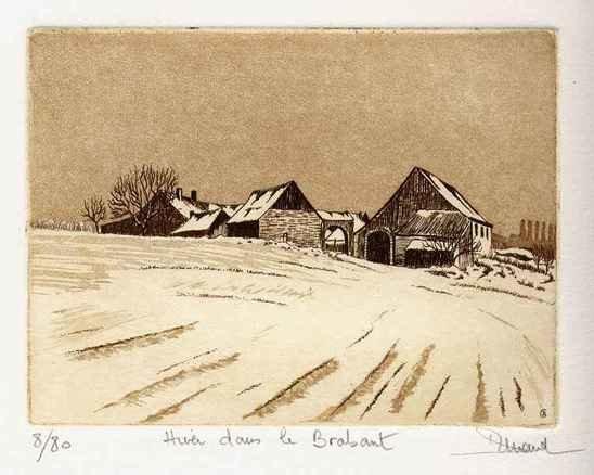 75 Hiver Dans Le Brabant, Eau-forte et aquatinte, 18x24 cm