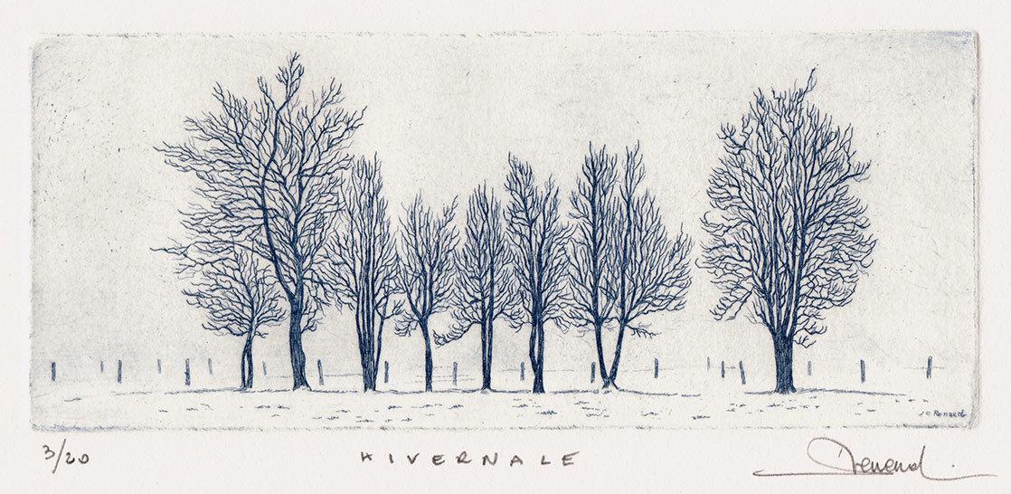 214 Hivernale, Eau-forte, 15x25 cm