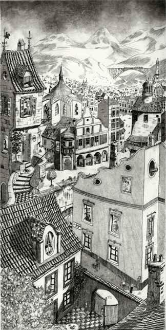 233 Imaginarni Mesto, Eau-forte, aquatinte,pointe-sèche, 40x65 cm