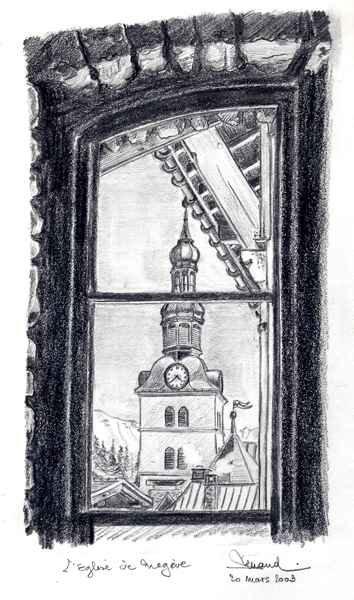 D430 L'Église De Megève - Encre de Chine - 24x32 cm
