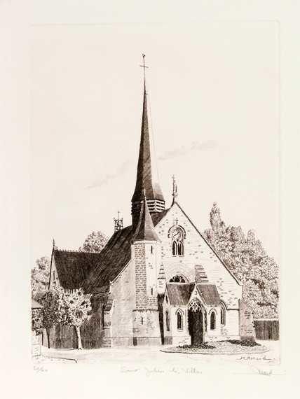 50 L'Église De Saint Julien Les VIllas, Eau-forte, 40x50 cm