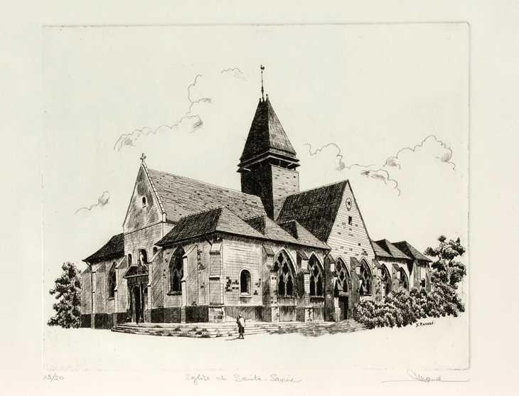 42 L'Église De Sainte Savine, Eau-forte, 40x50 cm