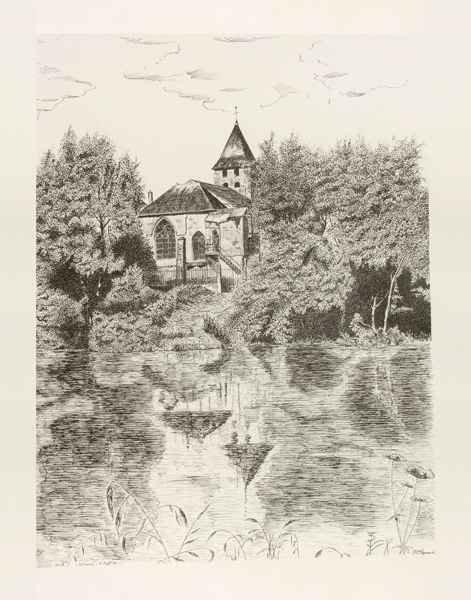 D121 L'Église De Warcq - Encre de Chine (Repro) 50x65 cm