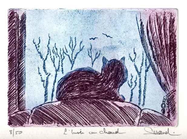 64 L'hiver Au Chaud, Vernis Mou, 24x30 cm