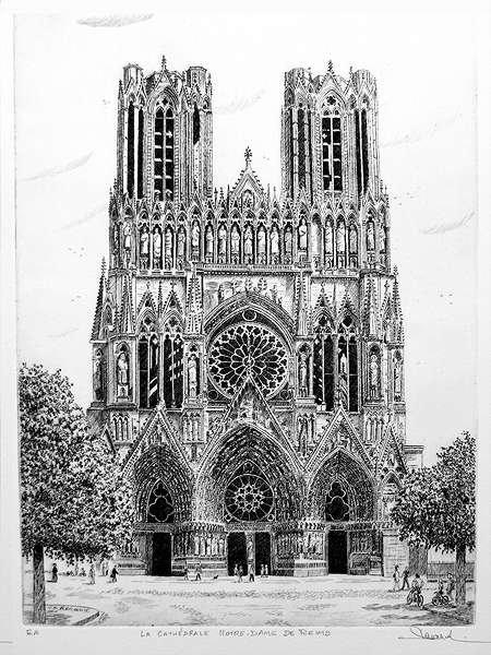 210 La Cathédrale Notre Dame De Reims, Eau-forte, 37x48 cm