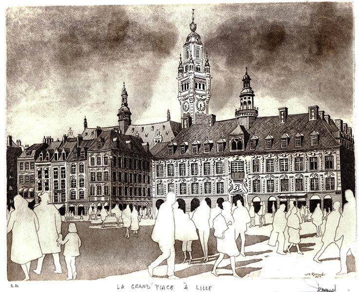 204 La Grand'Place à Lille, Eau-forte et aquatinte, 33x38 cm