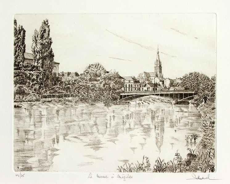 23 La Meuse à Mézières, Eau-forte, 40x50 cm