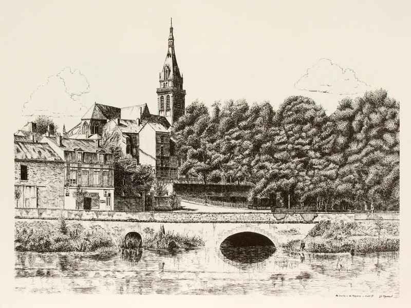 La Basilique De Mézières - Dessin à La Plume Reproduit En Offset Sur Papier Chiffon - 50x65