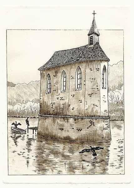 237 La Chapelle Aux Cormorans, Eau-forte et pointe-sèche, 24x30 cm