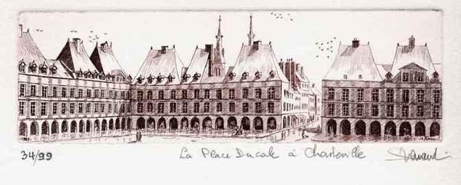 132 La Place Ducale 1999, Eau-forte, 25x36 cm