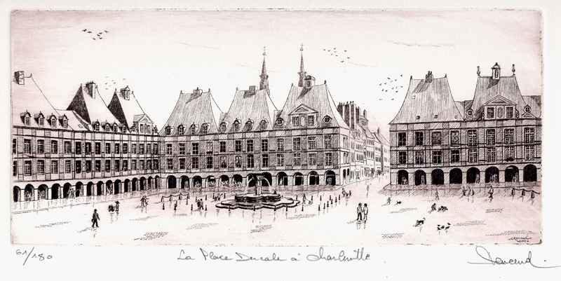 139 La Place Ducale, Eau-forte, 28x38 cm