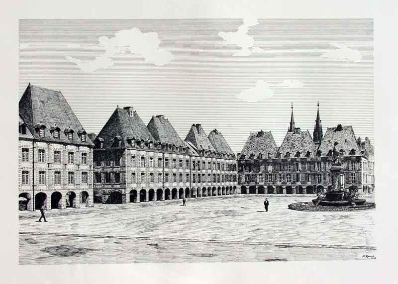 La Place Ducale à Charleville - Dessin à La Plume Reproduit En Offset Sur Papier Chiffon - 50x65