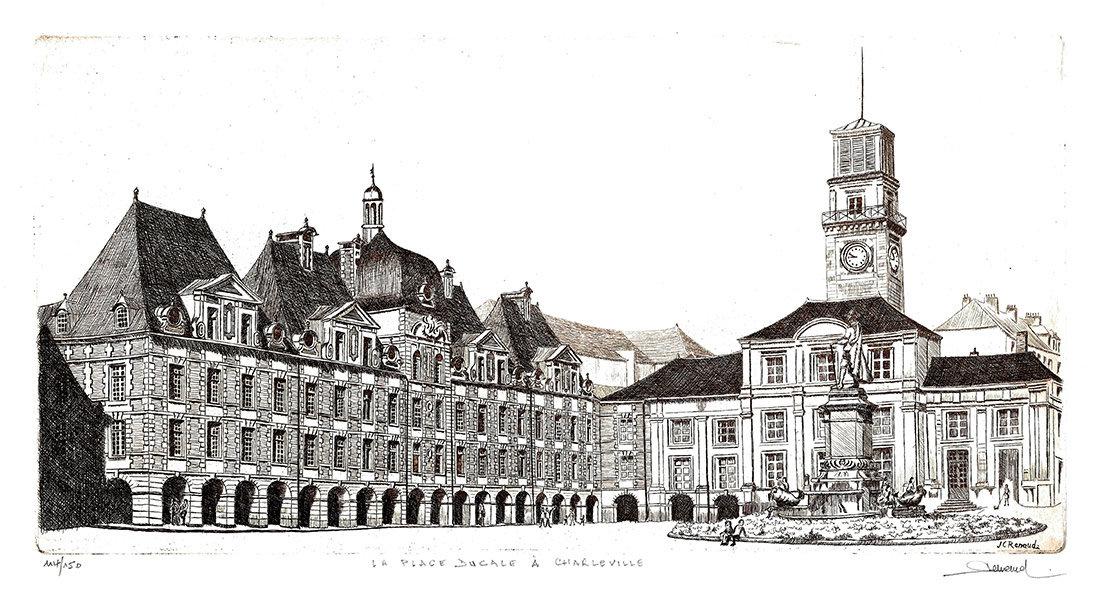 63 La Place Ducale à Charleville, Eau-forte, 38x57 cm
