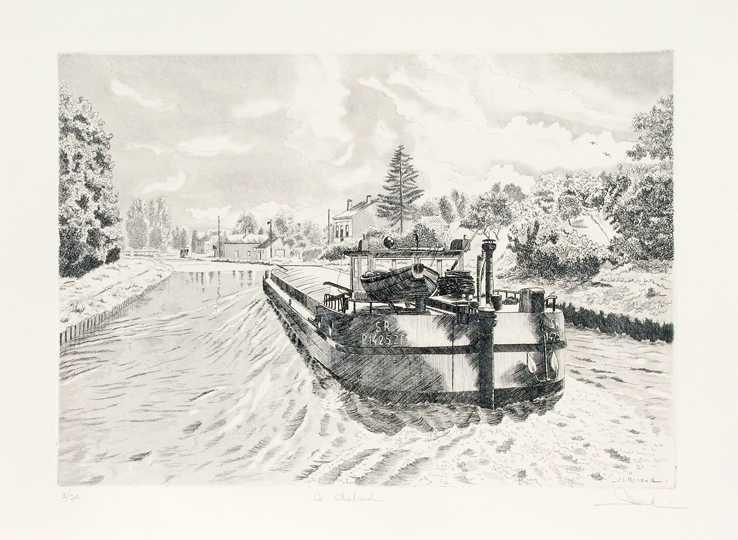 47 Le Chaland, Eau-forte et aquatinte, 50x60 cm