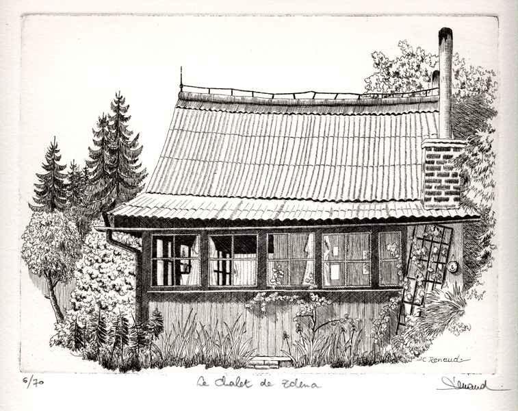 136 Le Chalet De Zdena, Eau-forte et aquatinte, 28x38 cm