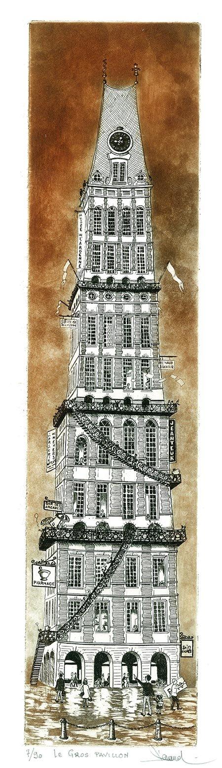 195 Le Gros Pavillon, Eau-forte et aquatinte, 25,3x50 cm