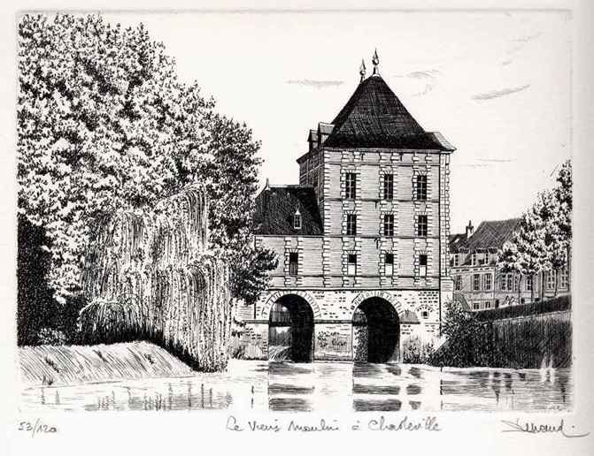 101 Le Vieux Moulin à Charleville, Eau-forte, 28x38 cm