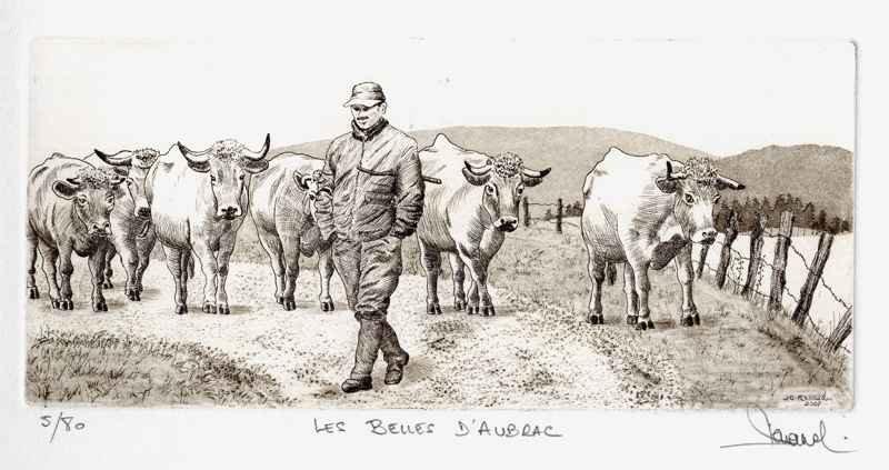 186 Les Belles d'Aubrac, Eau-forte et aquatinte, 25x36 cm
