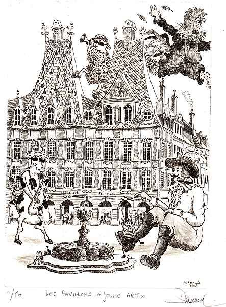 200 Les Pavillons ''Jeunes Art'', Eau-forte, 24x38 cm