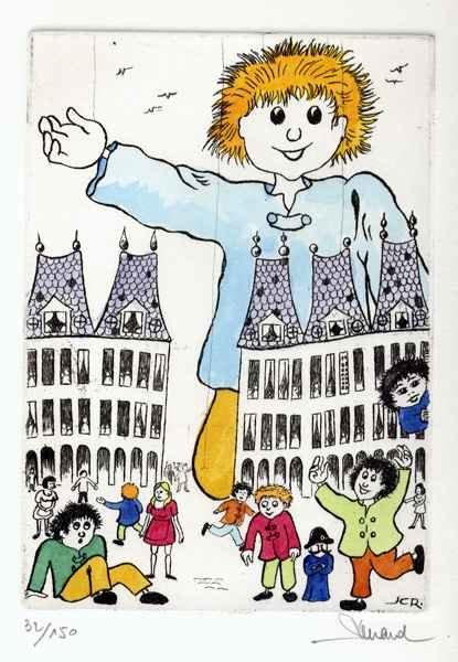 92 Mario, Marion, Marionnettes, Eau-forte aquarellée, 24x30 cm