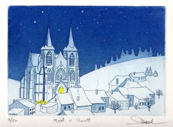 88 Noël à Avioth, Eau-forte et aquatinte, 24x30 cm