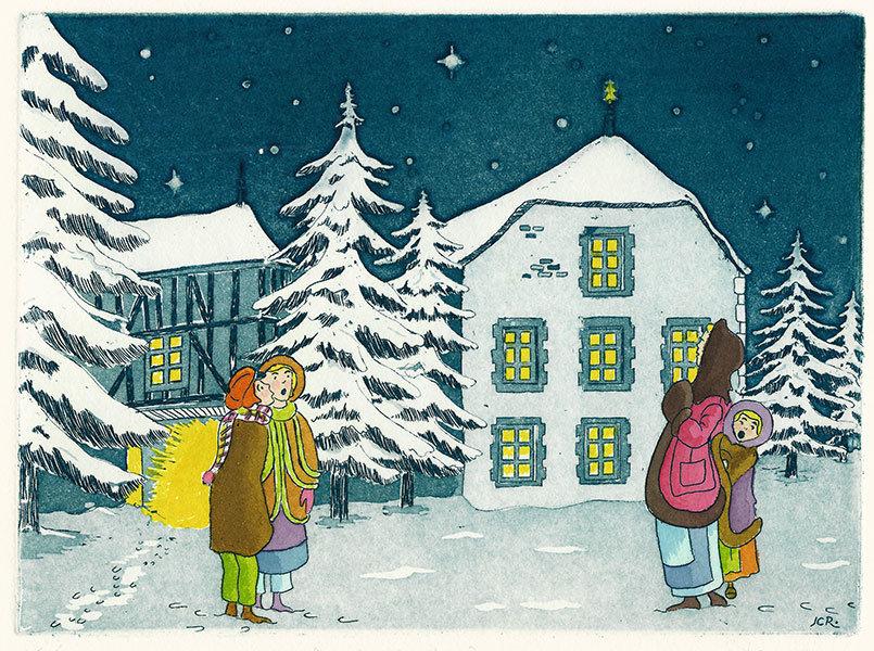 86 Noël à La Campagne, Eau-forte et aquatinte, 28x28 cm