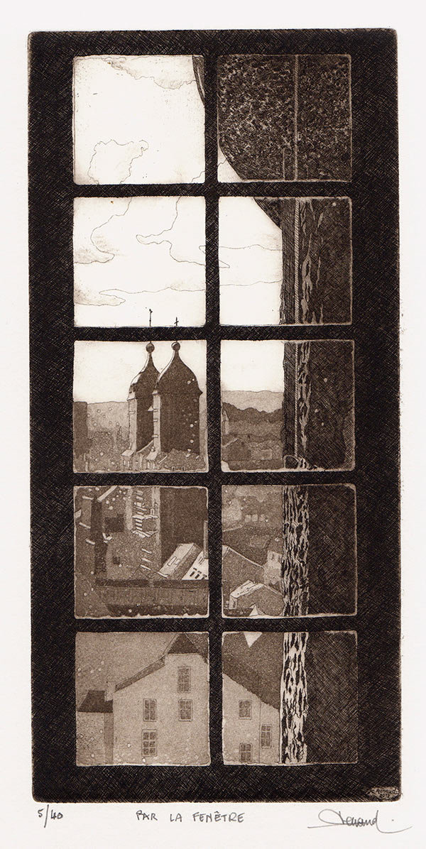216 Par La Fenêtre, Eau-forte et aquatinte, 26x38 cm