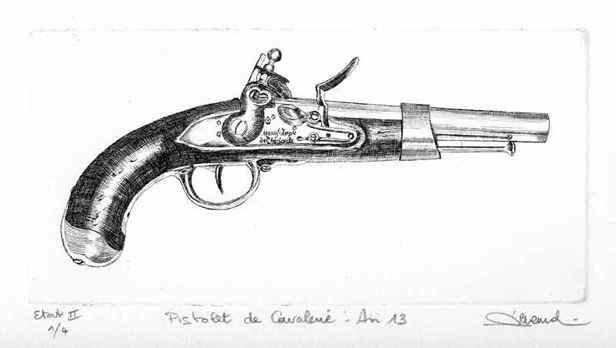 129 Pistolet De Cavalerie An XIII, Eau-forte, 23x32 cm