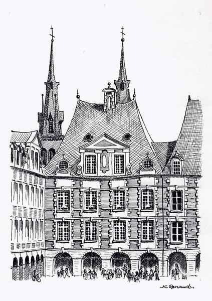 D485 Place Ducale, La Maison Toury - Encre de Chine - 25x32