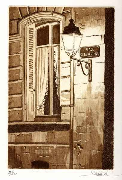 89 Place De La Basilique, Eau-forte et aquatinte, 28x38 cm