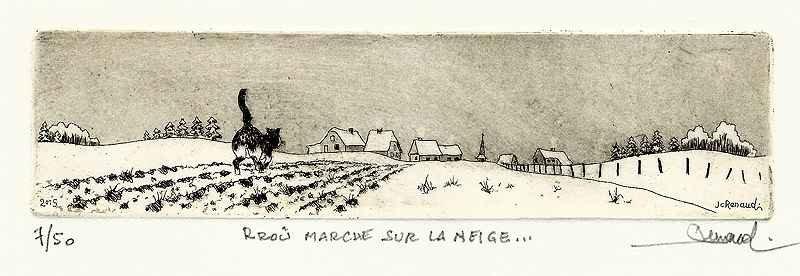 242 Rroû Marche Sur La Neige, Eau-forte et aquatinte, 19x30 cm
