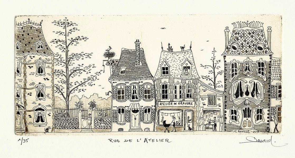 254 Rue De l'Atelier, Eau-forte, 25x36 cm